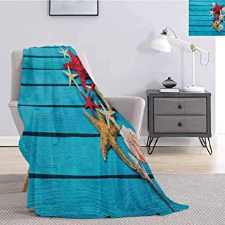 jecycleus Starfish Bedding Microfiber Blanket Different Types of Starfishes and Scallops on Blue Painted Wooden Planks Image Super Soft and Comfortable Luxury Bed Blanket W60 by L50 Inch Multicolor
