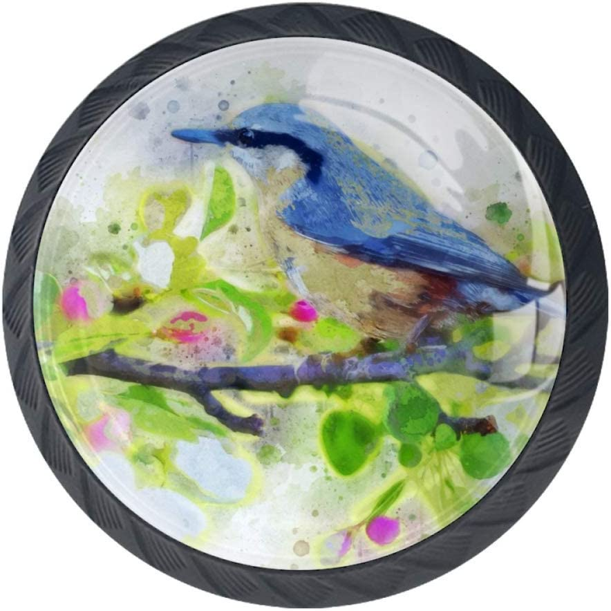 TIKISMILE Watercolor Discount is also underway Flowers and Birds Knob Handle E Pull 4 years warranty Drawer