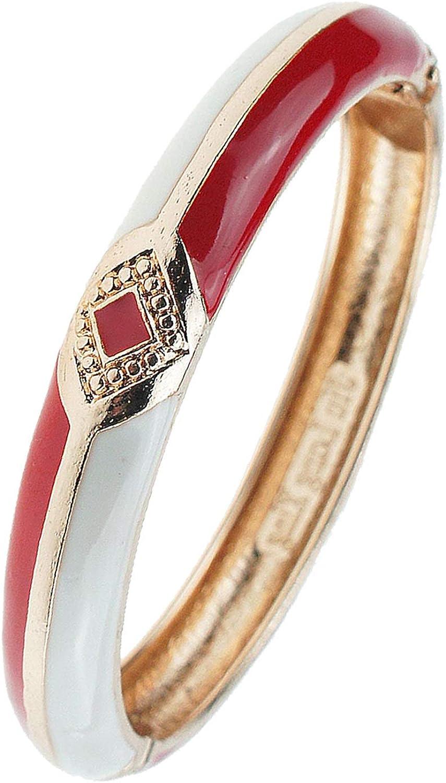 UJOY Enamel Bracelet Bangle Golden Carved Alloy Hinged Cloisonne Jewelry Gift Box Packed 55A02