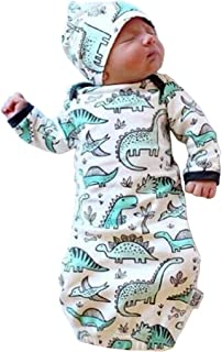 Unisex Baby Wearable Blanket with Hat Cap Cotton Sleeping Bag 2 Pcs Long Sleeve Nightgowns