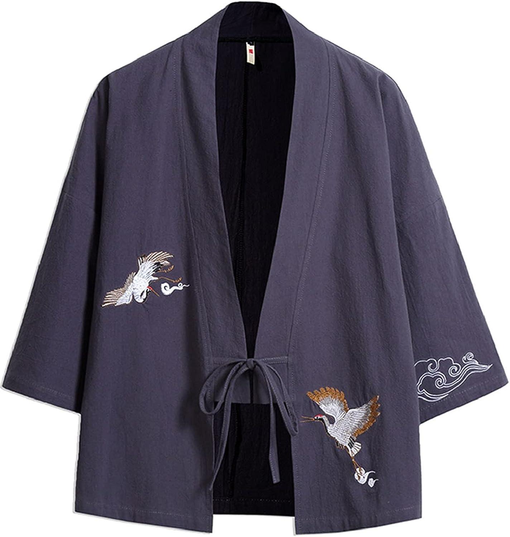 AMOMA Men's Raglan Sleeve Kimono With Belt Front Embroidery Crane Casual Cardigan Yukata Top