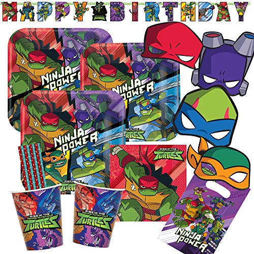 spielum 57-teiliges Party-Set Teenage Mutant Ninja Turtles - Teller Becher Servietten Tüten Masken Girlande Trinkhalme für 8 Kinder