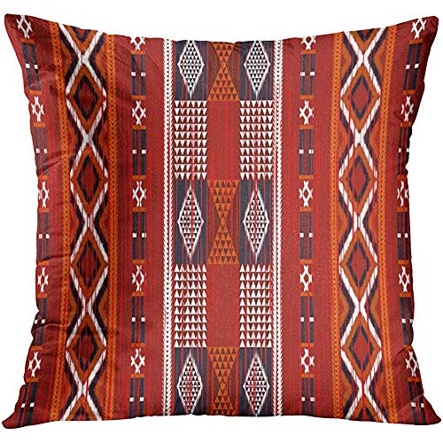 MJDIY kussensloop, Marokko geometrische etnische oosterse Ikat patroon traditionele ontwerp voor tapijt Batik stijl retro abstract aantrekkelijk nieuwigheid kussenslopen voor trein vliegtuig slapen