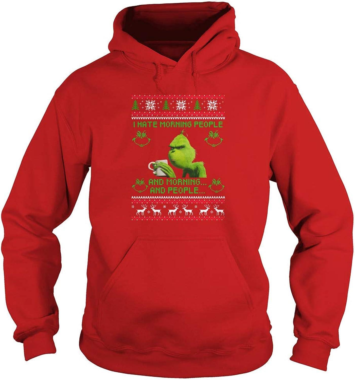 TeeWarrior I Hate Morning People and Mornings and People Grinch Christmas Adult Hooded Sweatshirt