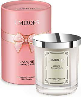 UMIRORS Jasmine Scented Candle, Gift Wrap for Women,8 oz, Jar Candle for Home Gift Aromatherapy Candles, Christmas Decoration
