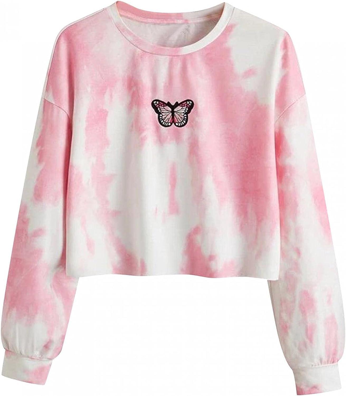 FACAIAFALO Women's Tie Dye Long Sleeve Workout Crop Top Sweatshirt Hoodies