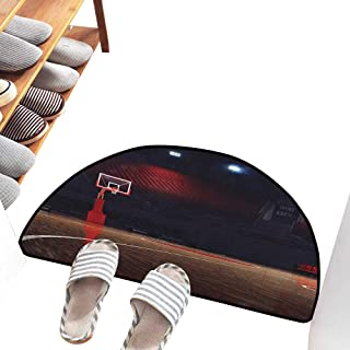 Fashion Door mat Basketball Picture of Empty Basketball Court Sport Arena with Wood Floor Print Suitable for Outdoor and Indoor use W30 xL18 Brown Black and Red