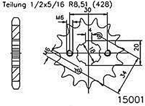 Ritzel 15 Zähne Stahl 428er Teilung 1 2x5 16 Für Daelim Vl 125 Daystar Classic Vl125f 2002 2005 Auto