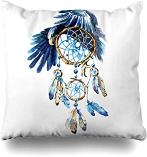 Ahawoso Throw Pillow Cover Indian Painting Watercolor Dream Catcher Eagle Bird Hand Hippie Adornment Amulet Design Sketch Decorative Pillowcase Square Size 16