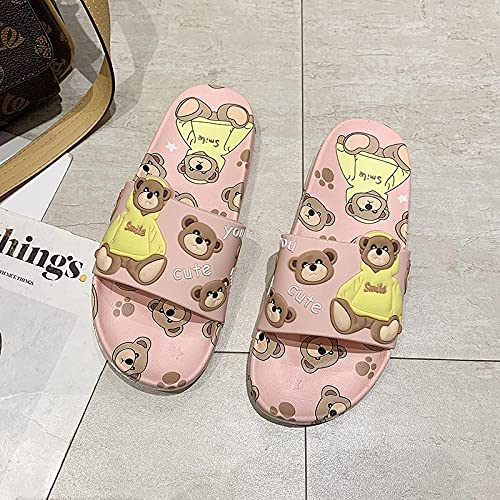YYFF Zapatos Unisex Adulto,Home Little Bear is Cool, Zapatillas de Dormitorio cómodas-Pink_39,para Hombre Chanclas Slider