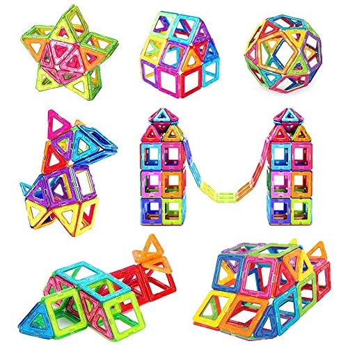 iKing マグネットブロック 磁気おもちゃ【正方形×30個 三角形×30個】 磁性構築ブロック 磁石ブロック子ども オモチャ 子供 立体パズル 積み木 DIY ママグネットおもちゃ 立体磁気構造 想像力 創造力育てる 男の子 女の子 贈り物 誕生日 ギフト 補充ピース クリスマス プレゼント 収納ケース付き
