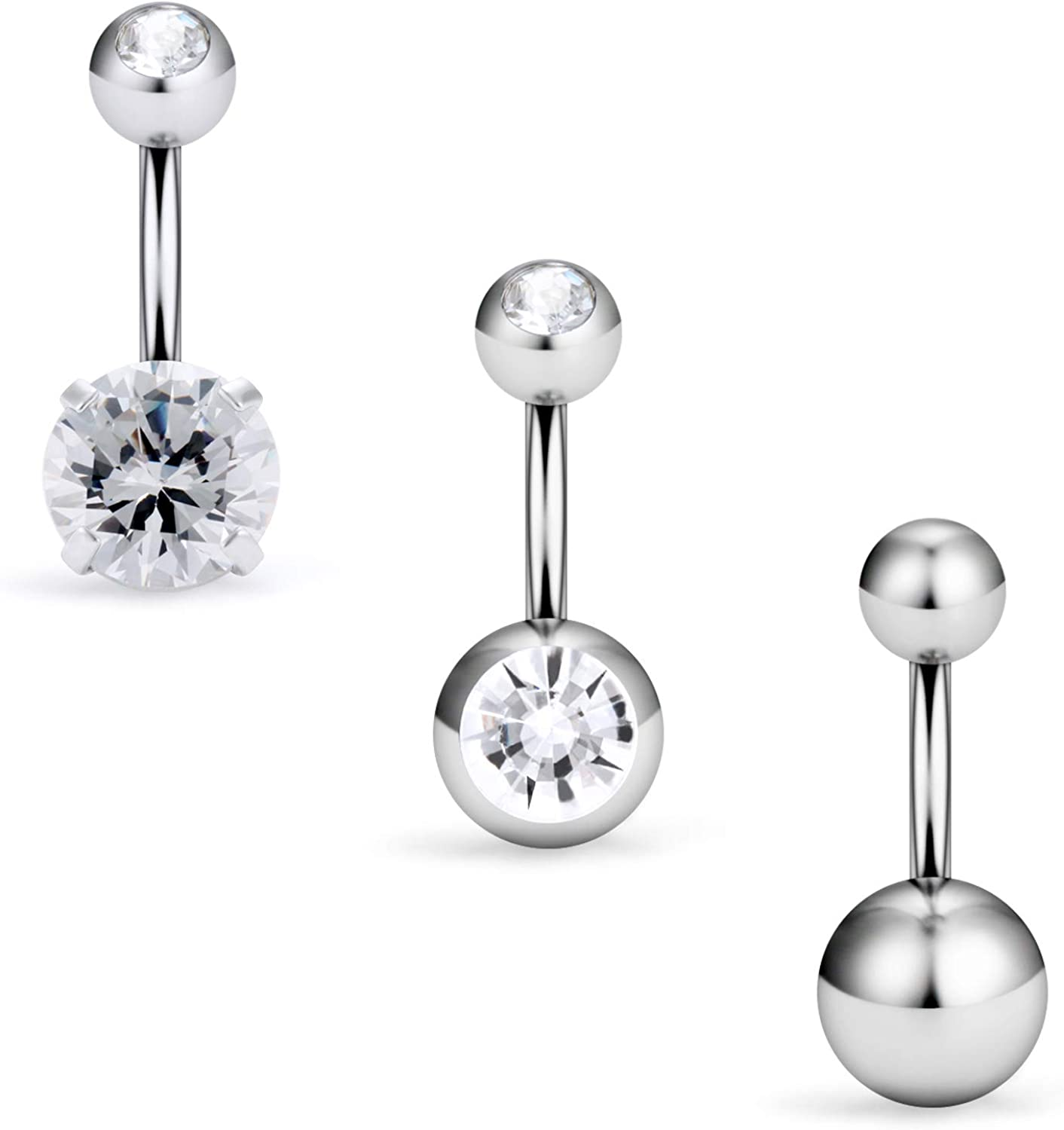 """Double Gem 316L Surgical Steel Navel Ring Belly Button Ring 14G 1//4/"""" to 5//8/"""""""