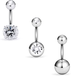 SCERRING 3-9PCS 16G 6mm 1/4 Inch 316L Surgical Steel Short Belly Button Rings Navel Belly Earring CZ Navel Ring Barbell Body Piercing