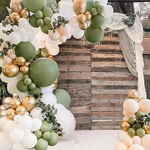 Anmete Kit Arco Palloncini Ghirlanda 152 Pcs Kit Palloncini Verde Avocado Oro Bianco Palloncino Ghirlanda Baby Shower Kit Arco Palloncini Compleanno Ragazza Decorazione Festa Matrimonio Laurea