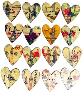 SuPVOX 50 peças de botões de coração de madeira vintage retrô botões decorativos enfeites 2 orifícios botões para DIY cost...