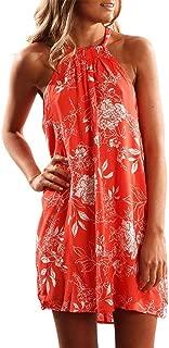 Sexy Dresses for Women,Women Sleeveless Halter Neck Floral Print Casual Mini Dress