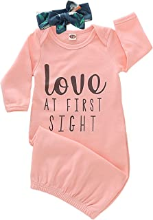Baby Girl Love at First Sight Sleeping Gown,Swaddle Sack Coming Home Outfit Sleepwear Romper Sleeping Bags
