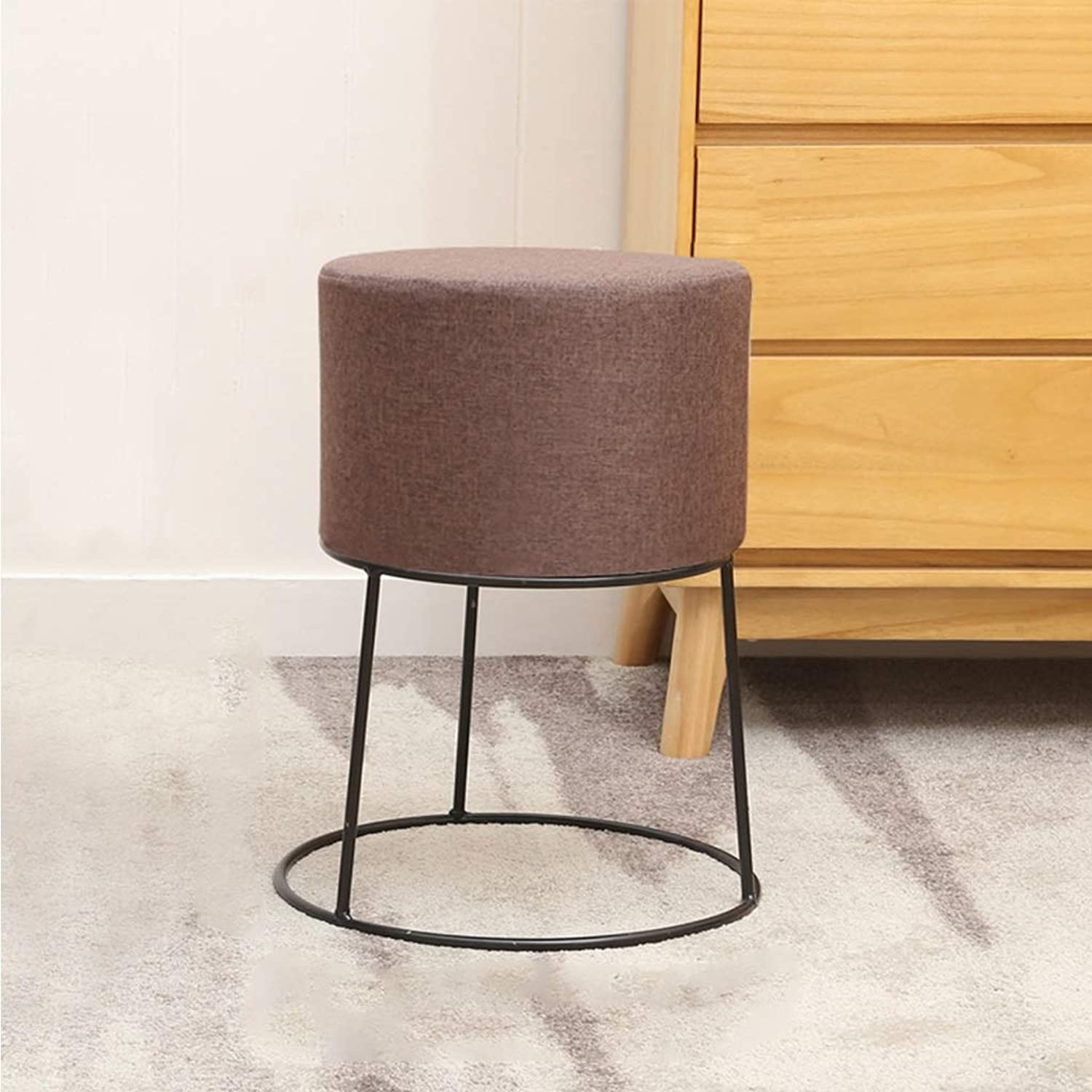 Household Bar Small Round Stool Modern Simple Cotton Seat Tea Table Restaurant Creative Chair Soft and Comfortable 0525A (color   D, Size   45cm Height)