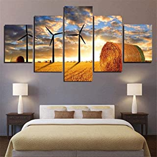 QQYYYT 5 pictures picture canvas painting mural wall art hd golden sunset sky white architecture grass landscape art home ...