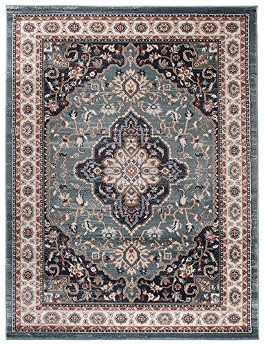 Carpeto Orientteppich Teppich Blau 160 x 220 cm Medaillon Muster Ayla Kollektion