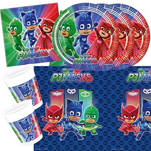 Unbekannt 37-teiliges Party-Set PJ Mask Pyjamahelden - Party - Teller Becher Servietten Tischdecke für 8 Kinder