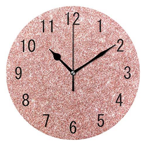Use7 Home Decor Rose Gold Pink Glitzer Runde Acryl-Wanduhr tickt nicht lautlos Uhr Kunst für Wohnzimmer Küche Schlafzimmer