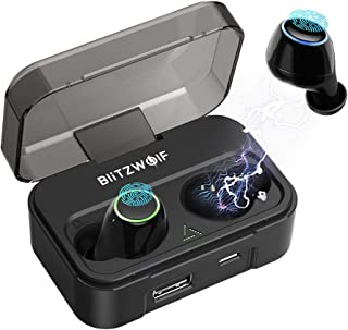 Wireless Earbuds, BlitzWolf Latest Bluetooth 5.0 Headphone iPX6 Waterproof 40H Cycle Play Time, 2600mAh Auto Pairing True Wireless Earbuds, Touch-Sensitive Control, Charging Case and Built-in Mic