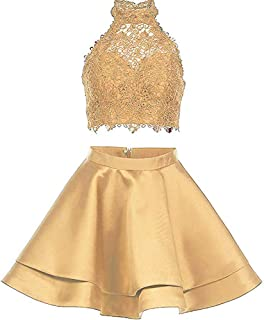 Botong Two Pieces Lace Satin Homecoming Dresses Short Halter Cocktail Party Gowns