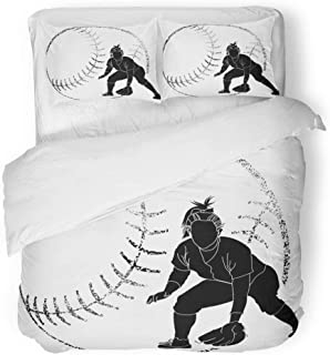 Emvency 3 Piece Duvet Cover Set Breathable Brushed Microfiber Fabric Girl Softball Silhouette of Fielder Grunge Bat Female Athlete Batting Catching Bedding Set with 2 Pillow Covers Full/Queen Size