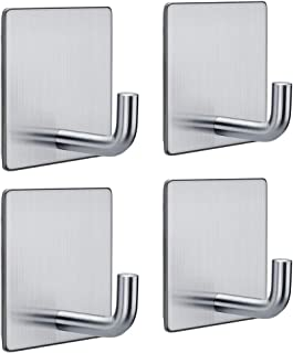 FOTYRIG Heavy Duty Adhesive Hooks Stainless Steel Wall Hangers Sticky Towel Hook for Hanging Bathroom Kitchen Home Stick on Wall Silver-4 Packs
