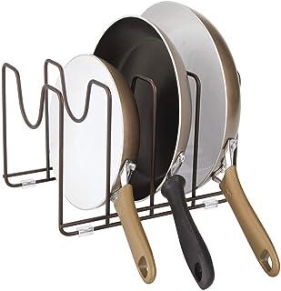 mDesign Soporte para sartenes, ollas y tapas – Organizador de tapaderas compacto de metal para armarios de cocina – Accesorios de cocina para ahorrar espacio de almacenaje – color bronce