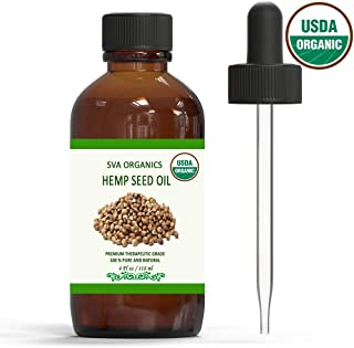 Organic Hemp Seed Oil - USDA Certified Natural Essential Oil, Cold Pressed, Unrefined, Therapeutic Grade by SVA Organics   for Hair, Skin Treatment, Acne  Traditional Oil (4 Ounce)