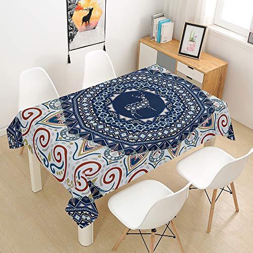 Fansu Antimanchas Mantel para Mesa Rectangular, Mandala impresión Mantel Impermeable Lavable Poliéster - Adecuado para Decorar Cocina Comedor Salón (Bohemia,140x200cm)