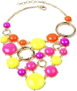 Bubble Gum Statement Bib Necklace, Neon Multi