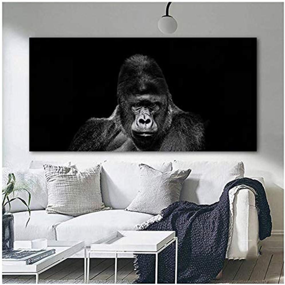 HYFBH Druck auf Leinwand Gorilla Monkey Animal Pictures Leinwandbild Schwarz-Weiß-Wandkunst Bild für Wohnzimmer Wohnkultur 80x160cm (31,5×63 Zoll)…