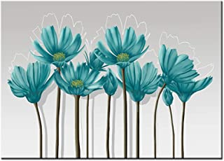 Visual Art Decor Teal Grey and White Abstract Floral Canvas Wall Art Pictures Beautiful Flowers Painting Printed on Canvas for Living Room Office Wall Decoration Ready to Hang (01 Green, 16