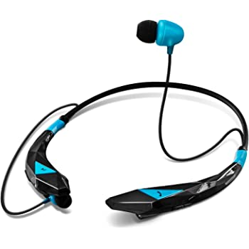 Aduro Amplify Pro SBN45 Wireless Stereo Bluetooth Around The Neck Earbud Headphone Headset (Black/Blue)