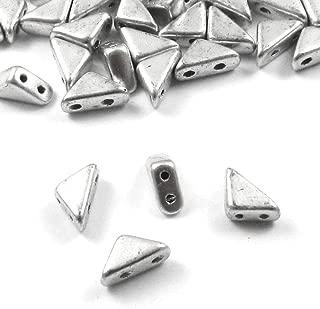 Czech Glass 2-Hole Triangle Beads-TANGO MATTE SILVER 6mm (50)