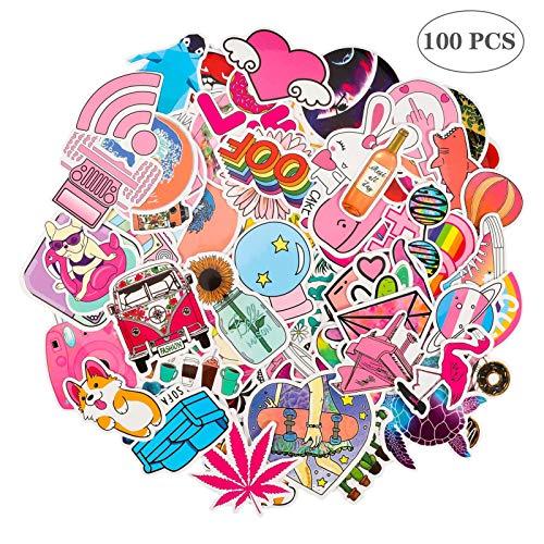 Gitua 100 Stück Aufkleber Mädchen, Wasserdicht Vinyl VSCO Stickers für Auto Motorrad Fahrrad Skateboard Koffer Laptop PS4 und Mehr (Rosa)