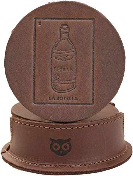 Durable Waxed Canvas And Thick Leather Loteria Coasters For Table Home Office Bar Kitchen Glass Cups Stain Protection W Deep Tray Holder 8 Pack Handmade By Hide Drink Honey Bourbon