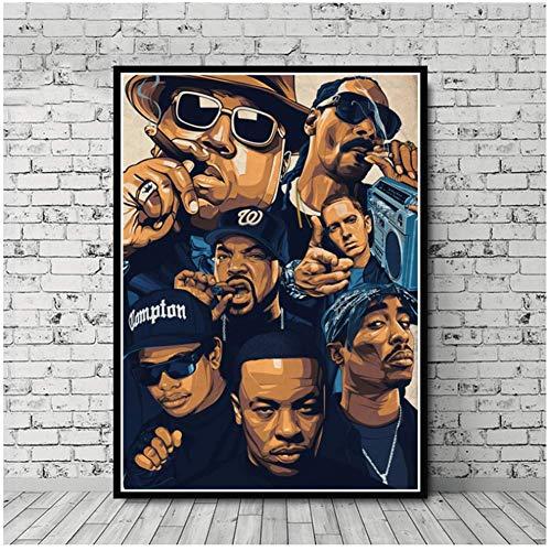 wzgsffs West Biggie Berüchtigten 2PAC Jay-Z NWA Sterne Collage Poster Wandkunst Bild Drucke Leinwand Malerei Für Home Room Decor-60x85 cm Kein Rahmen