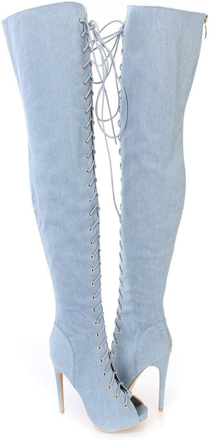 Amy Q Sexy Women's Lace up Denim Over the Knee boots