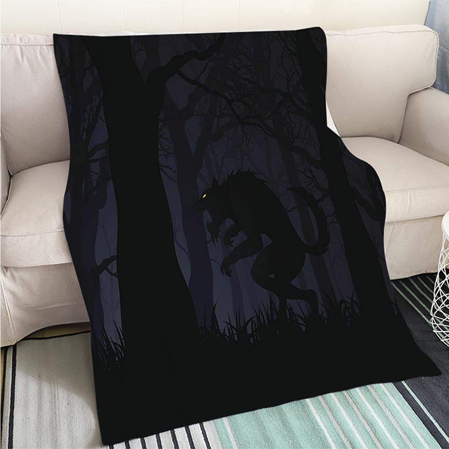 Breathable Flannel Warm Weighted Blanket Dark Digital Illustration of a Werewolf in a Forest Perfect for Couch Sofa or Bed Cool Quilt