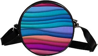 COOSUN Wellen-Gradient-Pastell-Muster, runde Umhängetasche, Schultertasche, Handtasche, Umhängetasche, für Kinder und Damen