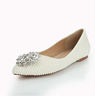 Flats for Women Slip On Pointed Toe Luxury Rhinestone & Exquisite Faux Pearls Premium Leather Bridesmaid Shoes Wedding Fashion Comfortable Shoes High Heels (Color : White, Size : 37 EU)