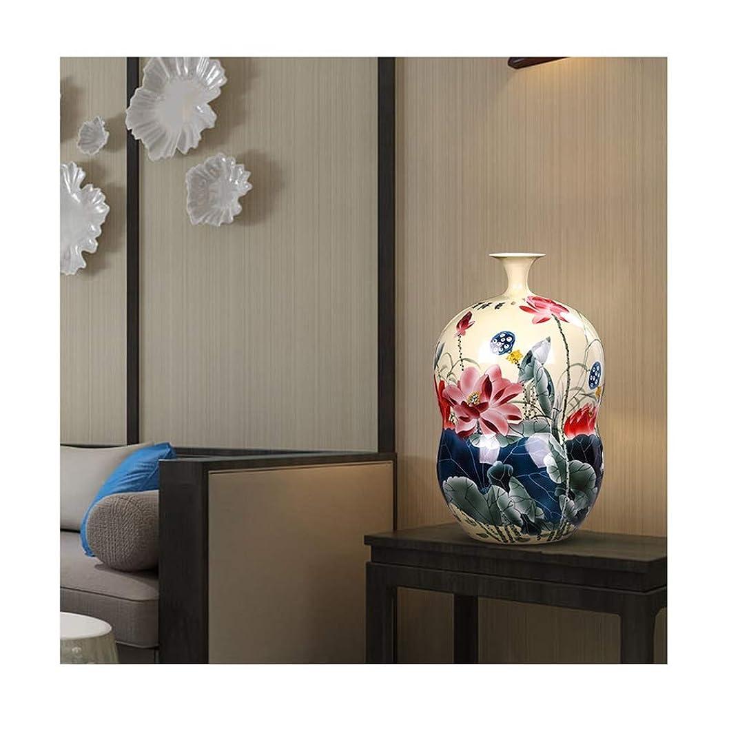 石炭人気天井陶磁器の花瓶 LJIANW 陶製の花瓶レトロひょうたん手描き花瓶の装飾植物ドライフラワーホームリビングルーム 事務所クリスマスプレゼント (Color : Multi-colored-25X42CM, Size : 1PCS)