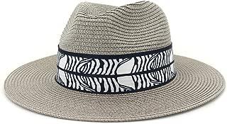 Outdoor Bucket Sun Hat Women's Summer Fashion Wide Brim Straw Sun Hat Fedora Hat Double Color Satin Bandwidth Panama Hat (Color : Gray, Size : 56-58CM)