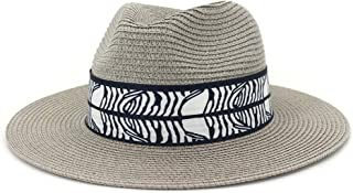 Sun Hat for men and women Summer Women's Sombrero Wide Brim Straw Sun Hat Fedora Hat Double Color Satin Bandwidth Panama Hat