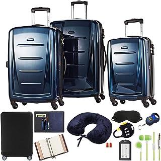 Samsonite 56847-1277 Winfield 2 Fashion Hardside 3 Piece Spinner Set - Deep Blue Bundle w/Luggage Accessory Kit (10 Item)