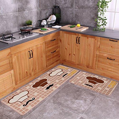 "Carvapet 2 Piece Non-Slip Kitchen Mat Rubber Backing Doormat Runner Rug Set, Chef (19""x59""+19""x31"")"